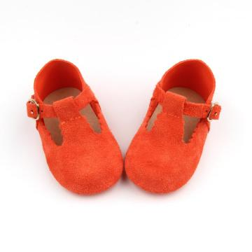 Baby Bright Color Leather T bar Shoes
