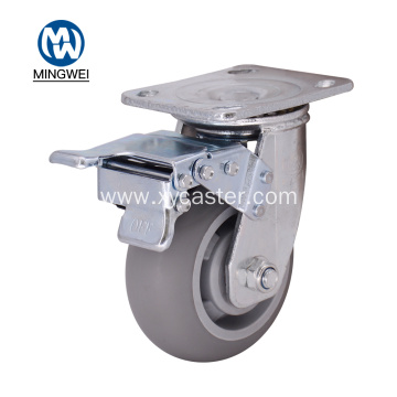 Gray 5 Inch TPR  Caster with Brake