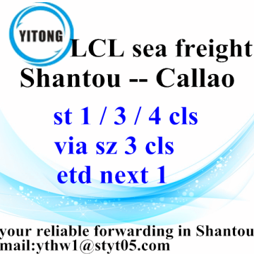 Professinal Ocean Freight Services from Shantou to Callao