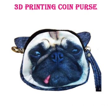 fashion cheapest 3d dog Face Zipper small cute coin Bag