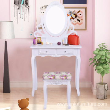 Professional for Dressing Table And Stool European white dresser table set mirror dresser makeup table export to Andorra Wholesale