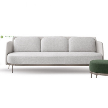 Light Gray Metal Frame Fabric Three Seater Sofa