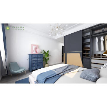 Customized Wide Sliding Wardrobe with King Bed