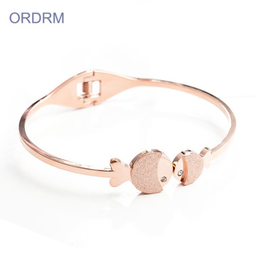 Popular Girls Fish Charm Thin Bangle Bracelets