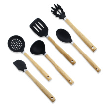 6pcs silicone kitchen utensils with wood handle