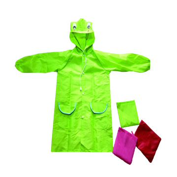 Kids pvc raincoat with cartoon cap