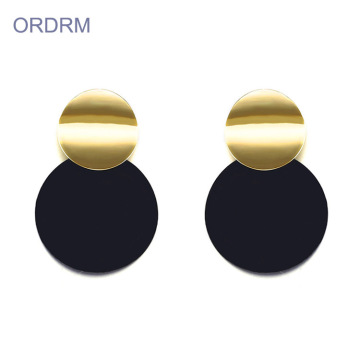 New Stylish Ladies Black Gold Disc Earrings