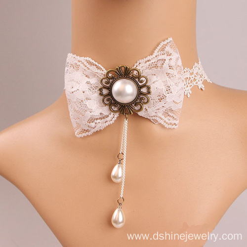 Fashion White Lace Necklace Bowknot Pearl Lace Bib Necklace