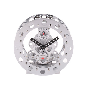 White Metal Alarm Gear Clock