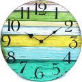 12 inch Vintage Rustic Country Tuscan Style Wooden Decorative Round Wall Clock