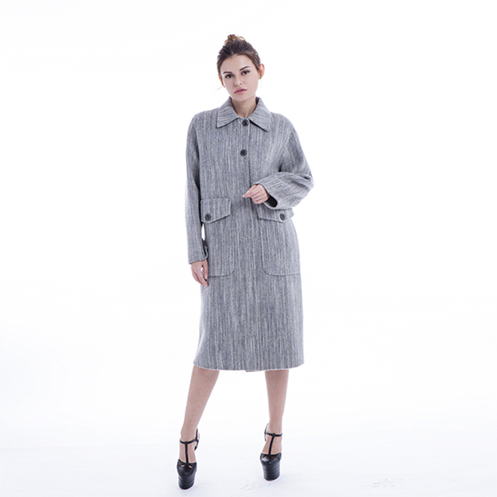 Fashionable Light Grey Cashmere Winter Coat