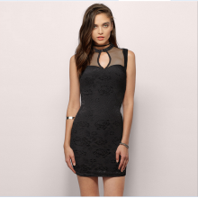 Ebay sells the us and Europe to make a see-through hollowed-out sexy lace short dress club-hip dress 8311 black