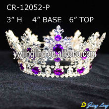 2018 Round Silver Purple Rhinestone Crystal King Crown