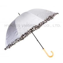 Frill Printed Silver Coating Hand Open Dome Umbrella