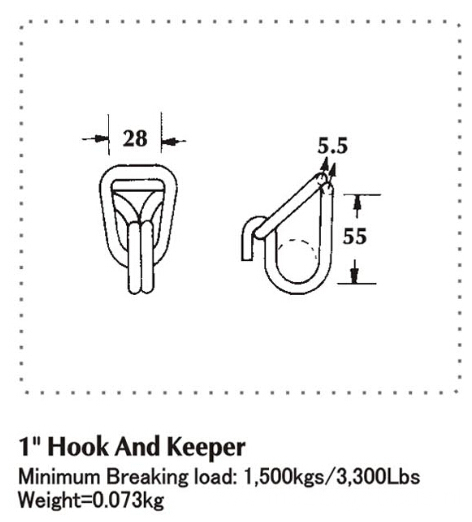 "1"" Swan Hook Width With Break Load 1500 KG"