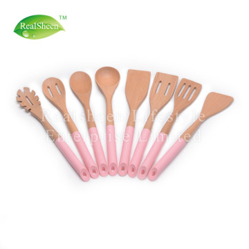 Natural Beech Wooden Utensils With Silicone Handle