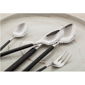 18/10 Black Handle Stainless Steel Flatware Set