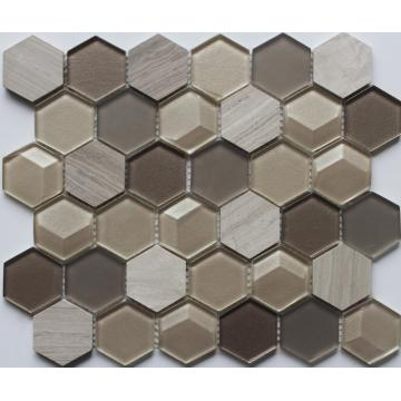 Brown Color Mixed Hexagon Mosaic