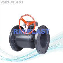 PVC Flanged Ball Valve Gear Operate 1.0Mpa
