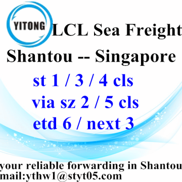 New Arrival China for LCL Shipments LCL Ocean Freight Shantou To Singapore supply to Armenia Manufacturer