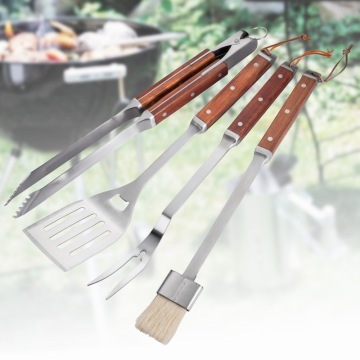 4-Pieces Wooden Handle Stainless Steel BBQ Tools Set