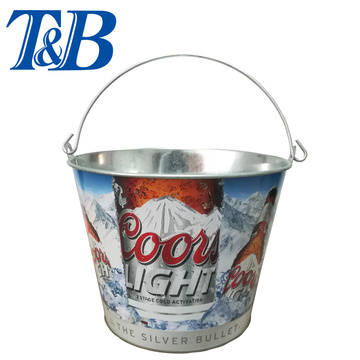 Galvanized Tin ​Ice bucket with portable handle