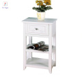 Elegant Home wooden White finished Shelved night stand with Drawer