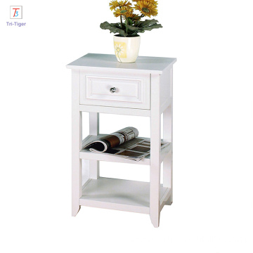 OEM/ODM for Bedside Cabinets Elegant Home wooden White finished Shelved night stand with Drawer export to Dominican Republic Wholesale