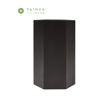 High Black Hexagon Veneer Side Table