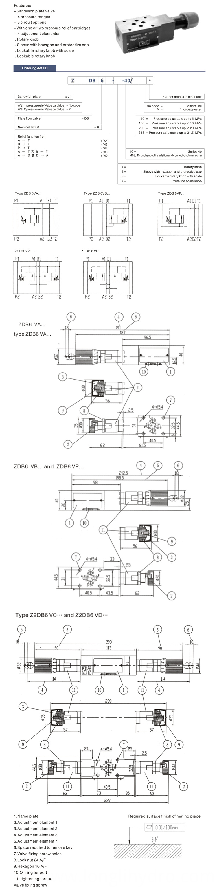 ZDB Z2DB High quality Rexroth Hydraulic Relief Valves