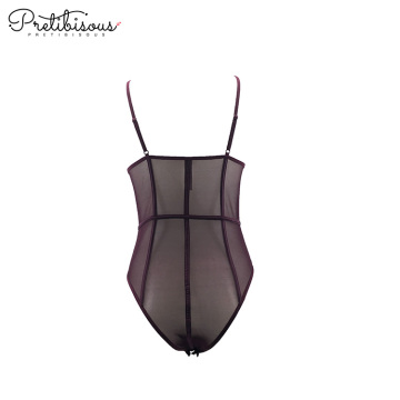 Women sexy body tanga transparent mesh bodysuit