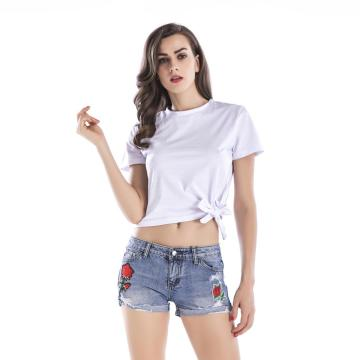 Simple Design Hemline Tie Knot Short Sleeve T-shirt