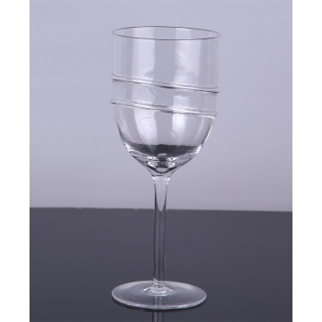 Handmade Clear Wine Glass Goblet Set of 2