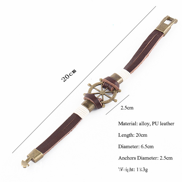 Alloy Charm Leather Wristbands