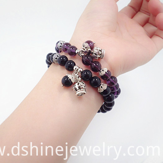 Black Onyx Beads Bracelet With Crown Pendant