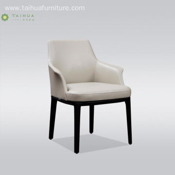 White Leather Cushion Solid Wood Dining Chair