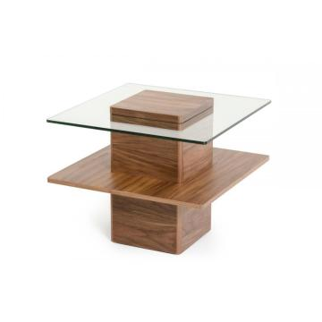 China Supplier for Side Table Mid Century Walnut and Glass End Table supply to Spain Suppliers