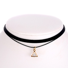 Handmade Black Velvet Collar Choker With Crystal Pendant