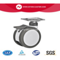 4 Inch Plate Swivel PU And PA Material With Bracket Medical Twin Caster