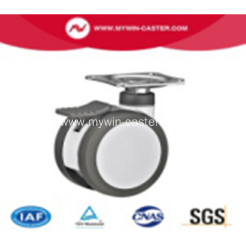 3 Inch Plate Swivel PU And PA Material With Bracket Medical Twin Caster