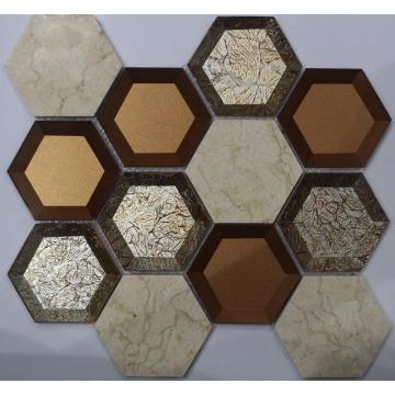 73x73 Golden Cover Hexagon Mosaic Tile