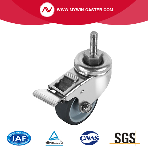 Braked Threaded Stem Swivel Stainless Steel Caster