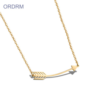 Simple Stainless Steel Gold Arrow Pendant Necklace