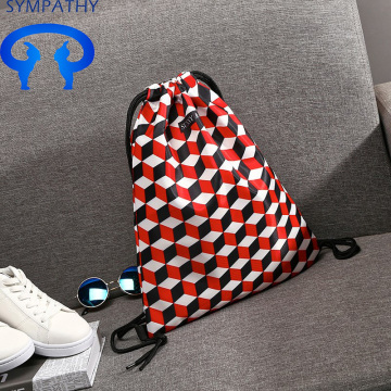 A simple drawstring pocket backpacker print student's bag
