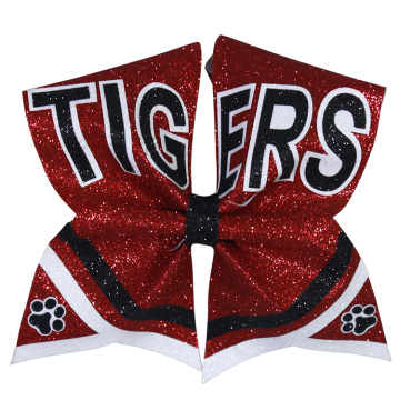 China for China Cheerleading Hair Bows,Cheer Bows,Sublimation Cheer Bows Manufacturer and Supplier tiger silver glitter large cheer hair bows supply to Antarctica Exporter