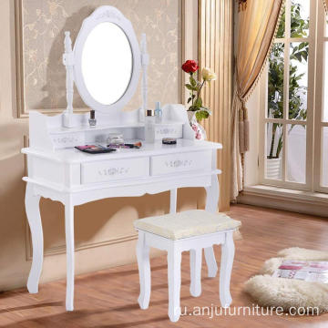 White Vanity Jewelry Makeup Dressing Table Set 4 Drawer Mirror Wood Desk portable makeup table
