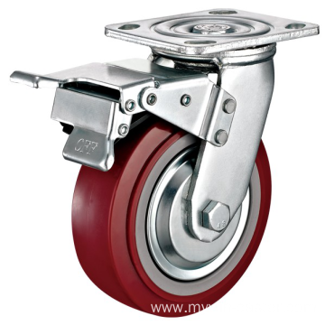 5'' Plate Heavy Duty PU Industrial Caster with PP Core With Total brake