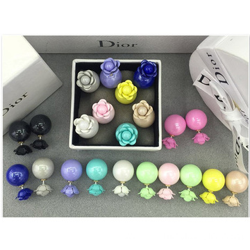 Muliti Color Neon Pearl Earring Rose Double Pearl Earrings