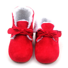 Factory Wholesale Christmas Red Bowknot Plush Baby Boots