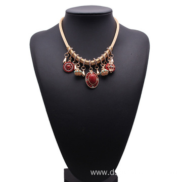 Rose Gold Chain Necklace Rhinestone Pendant Bridal Jewellery